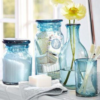 Blue beach glass bath accessories pottery barn for Blue glass bath accessories