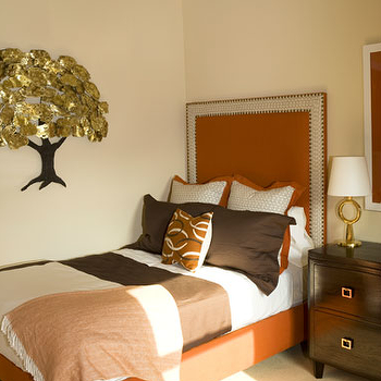 Seagrass headboard cottage bedroom for Brown and orange bedroom ideas
