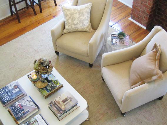White Coffee Table Transitional Living Room