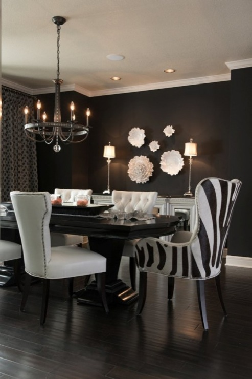 Black and white dining room contemporary dining room for Black dining room walls