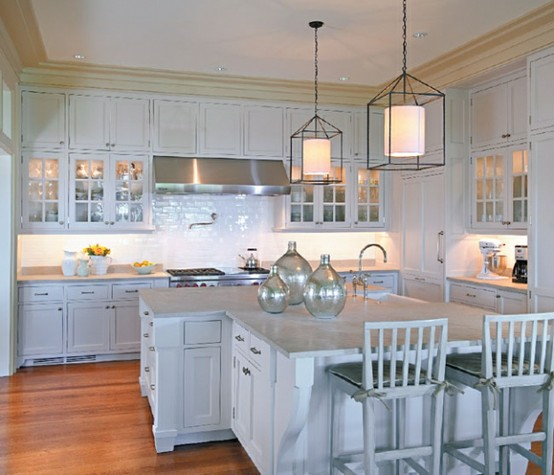 Cottage Style Kitchen Lighting: Light Gray Kitchen