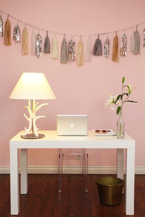 Pink Paint Colors Contemporary Den Library Office