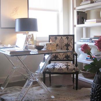 Lucite Desk, Contemporary, den/library/office, Elizabeth Sullivan Design