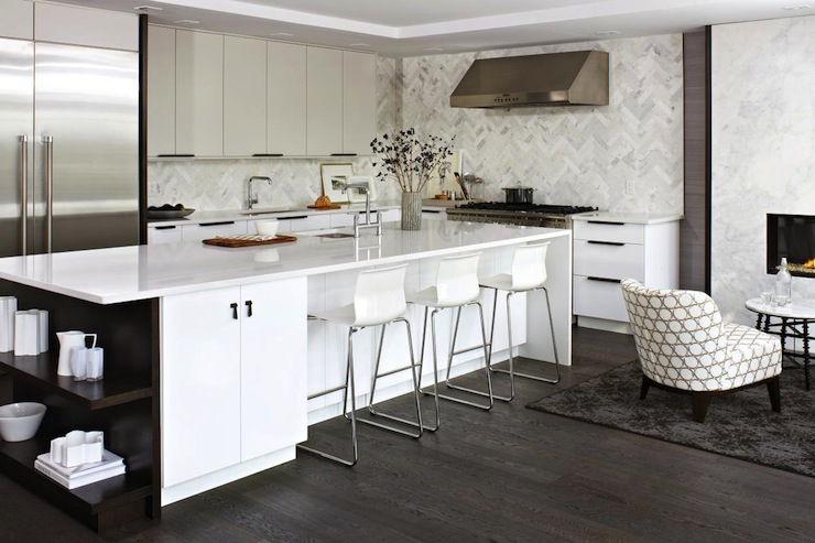 Modern White Kitchen Backsplash Glamorous Herringbone Backsplash  Contemporary  Kitchen  Croma Design Decorating Design