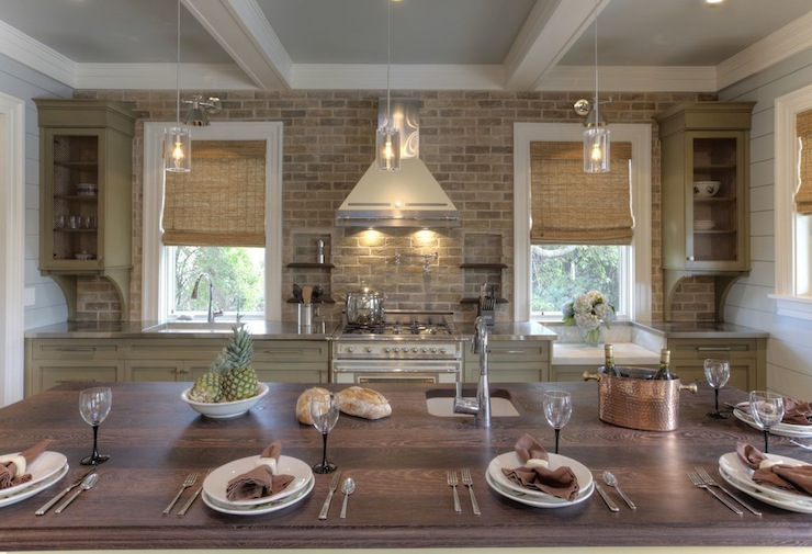 Brick kitchen backsplash cottage kitchen herlong for Kitchen bricks design