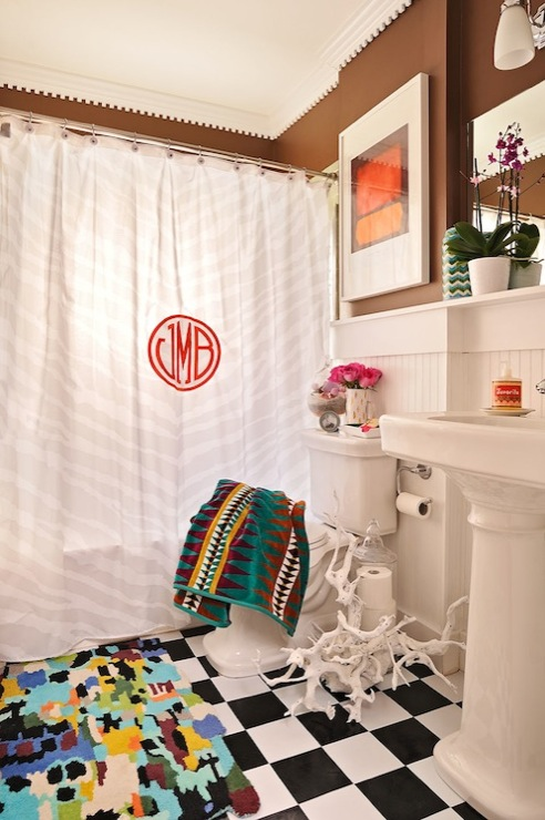 Monogrammed Shower Curtain Eclectic Bathroom Furbish