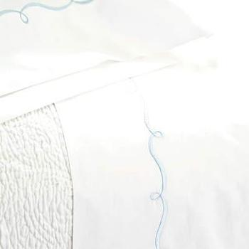 Pine Cone Hill Embroidered Hem White/Dusty Blue Sheet Set