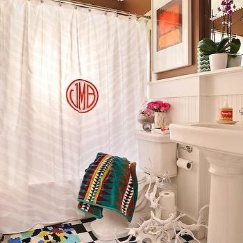 Monogrammed Shower Curtain, Eclectic, bathroom, Furbish Studio
