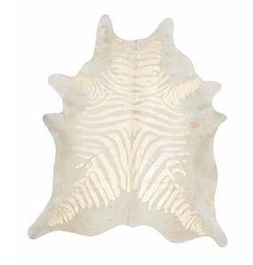 Beige/Metallic Gold Zebra Stenciled Hide Rug