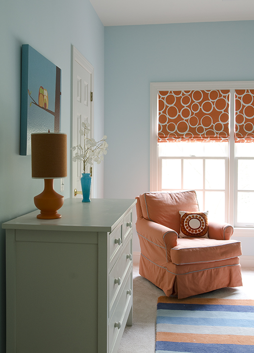 Turquoise Blue And Orange Drapes Design Ideas