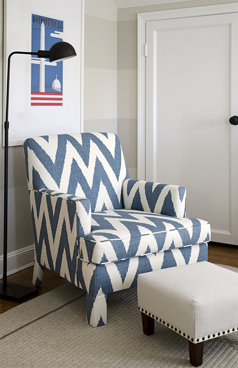 Great DC Design House   Fantastic Boyu0027s Bedroom With Tone On Tone Tan Striped  Walls, White U0026 Blue Chevron Print Upholstered Chair, White Ottoman With  French Brass ...
