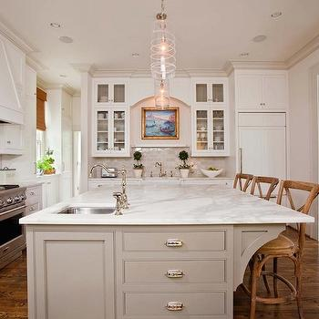 kitchen cabinets, marble countertops, small sink in kitchen island