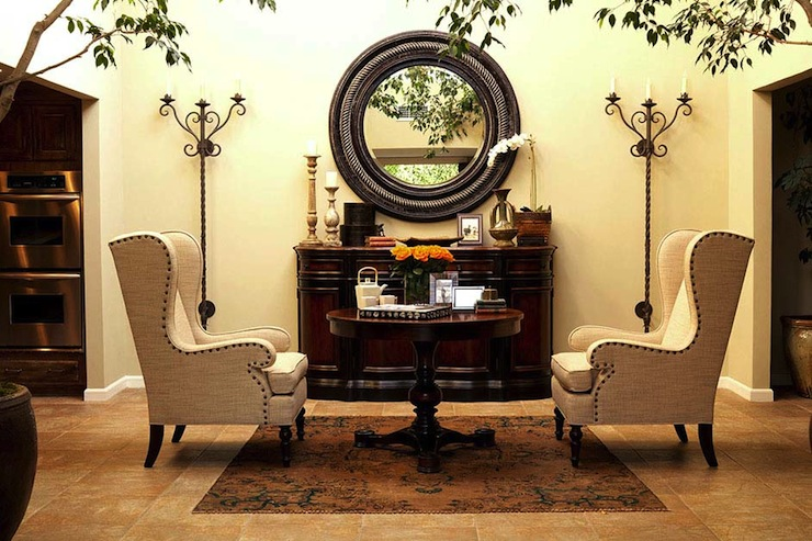 linen wingback chairs   eclectic   entrance foyer