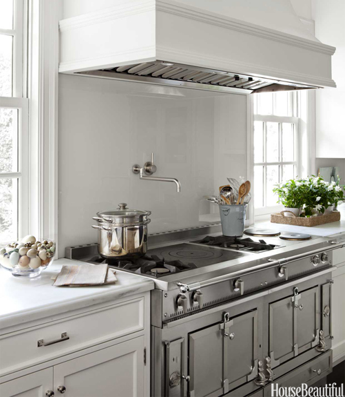 Samantha Lyman   Amazing Kitchen With La Cornue Chateau 150 Range,  Dornbracht Pot Filler And White Kitchen Cabinets With Marble Countertops.