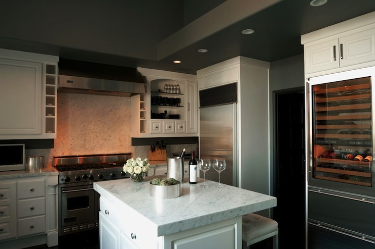 charcoal gray walls & ceiling, white kitchen cabinets & kitchen islan