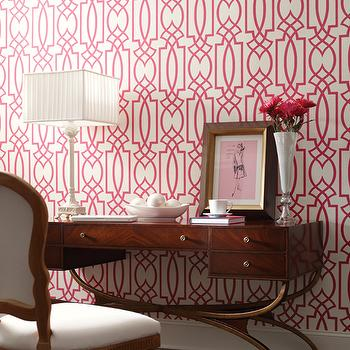 Pink Trellis Wallpaper, Transitional, den/library/office, York Wallcoverings