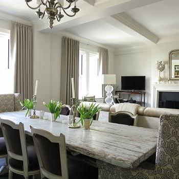 Distressed Dining Table, Transitional, dining room, Christina Murphy Interiors