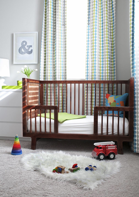 oeuf sparrow crib review slate modern contemporary baby boy nursery design walnut gray walls paint color pelt dots reviews
