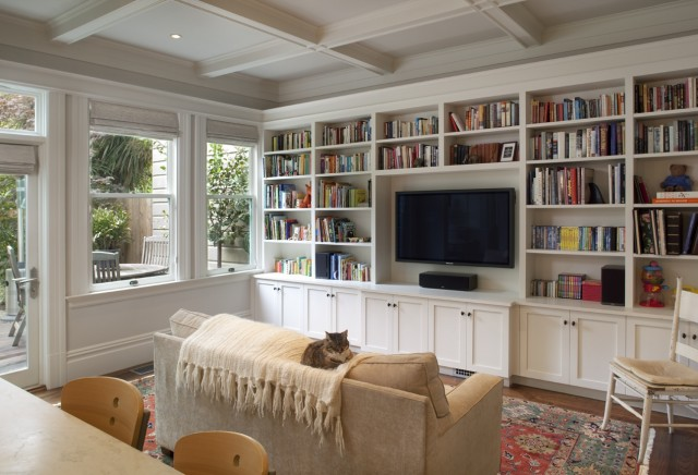 Floor to ceiling built ins design ideas for Living room shelves