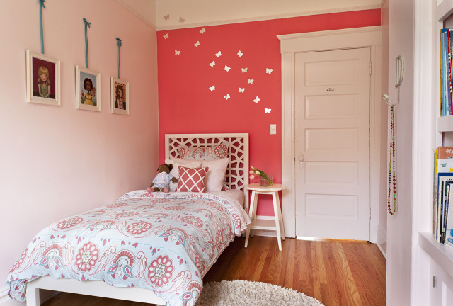Perfect Adorable Girlu0027s Bedroom With Soft Pink Walls Paint Color, Hot Pink Accent  Wall, White Twin West Elm Morocco Headboard, Blue U0026 Pink Duvet U0026 Sham, ...