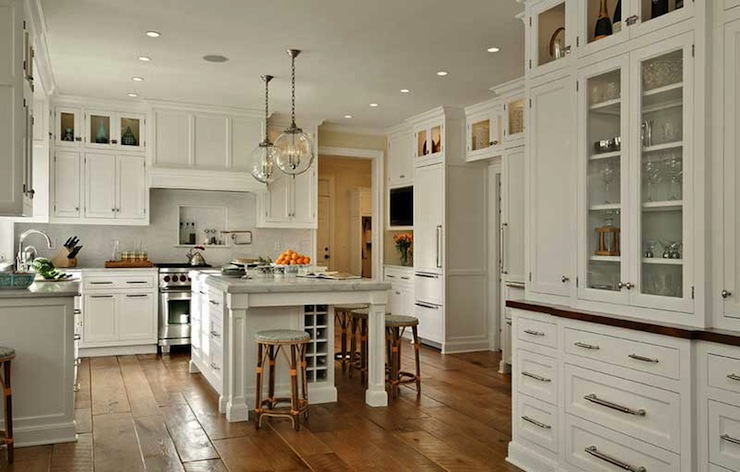 Marble Countertops White Bianco Linear Tiles Backsplash Pot Filler Clear Gl Pendants Pocket Doors And Built In Kitchen Island Wine Rack