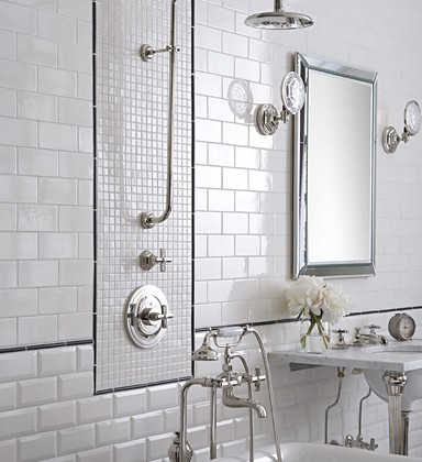 gorgeous bathroom design with ann sacks glossy white subway tiles ann
