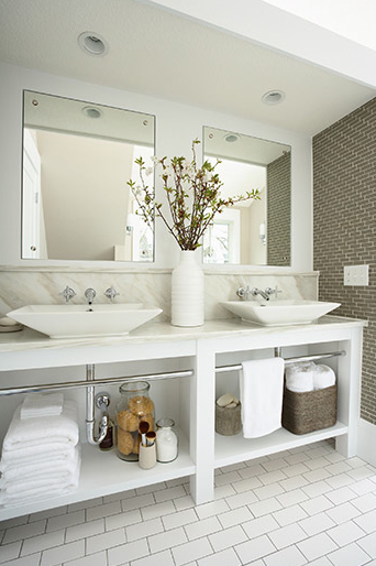 White Vessel Sinks Contemporary Bathroom Susan