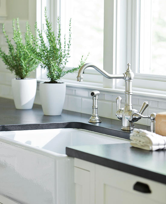 White Kitchen Cabinets And Countertops: Honed Black Granite