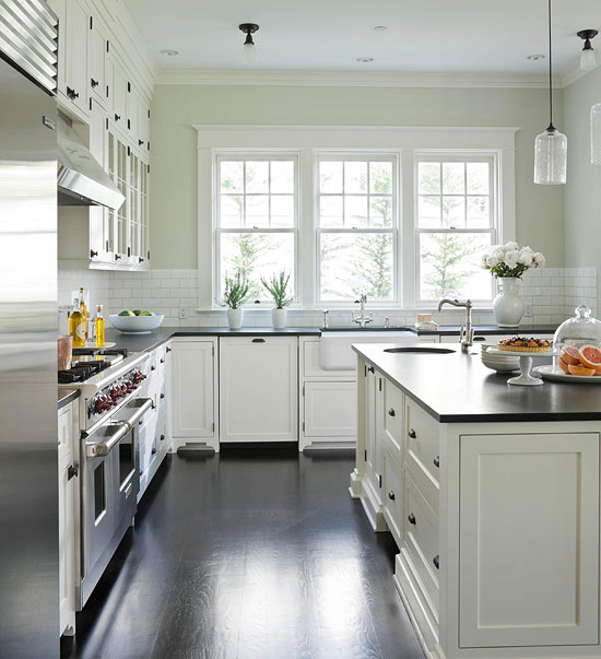 White kitchen cabinet paint colors transitional for Kitchen wall colors with white cabinets