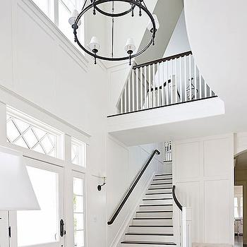 Dorset Two-Tier Chandelier With Torch Arm, Transitional, entrance/foyer, Benjamin Moore Morning Dew, Traditional Home