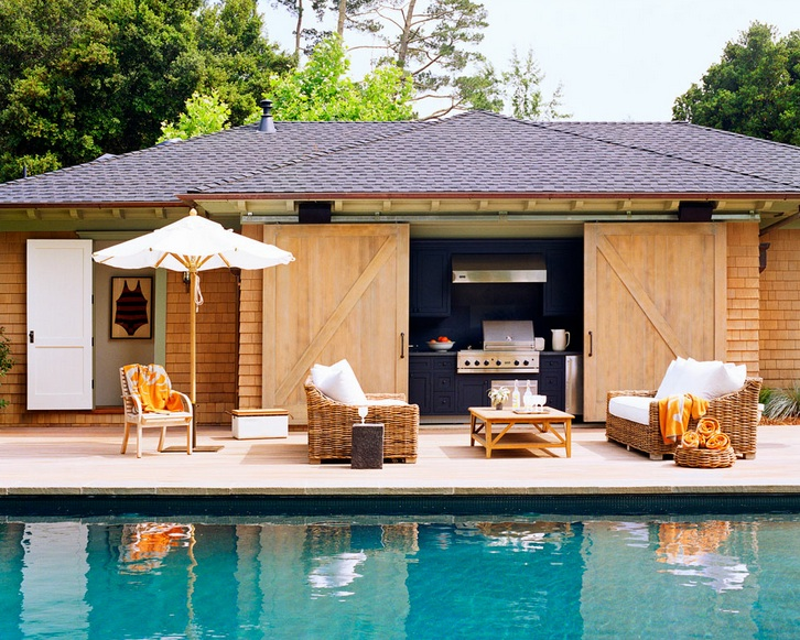 Cabana contemporary pool wick design for Outdoor cabana designs