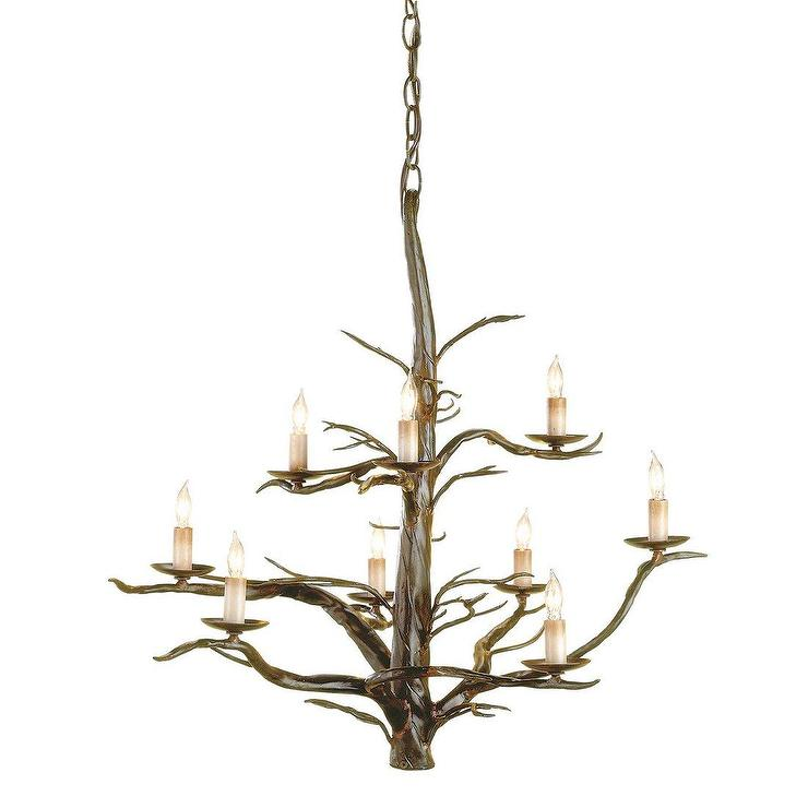 Currey & Company 9327 9 Light Treetop Chandelier, Old Iron, Lighting Universe