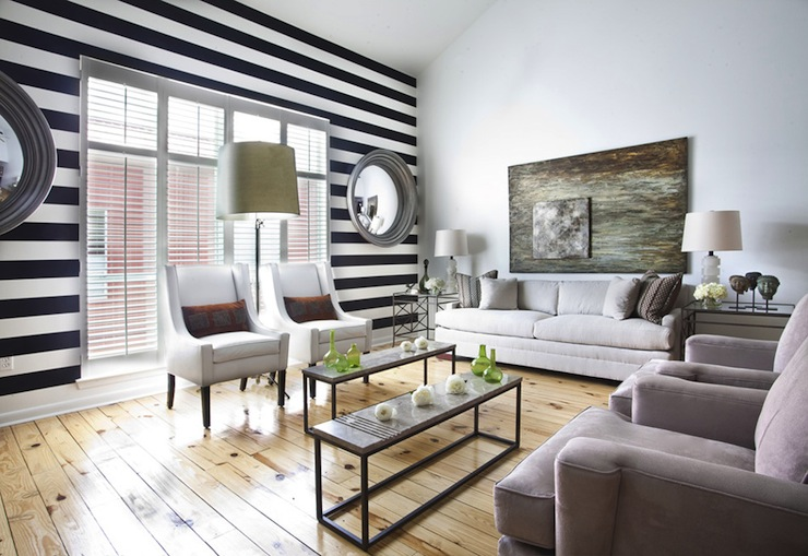 Black And White Striped Wall Transitional Living Room