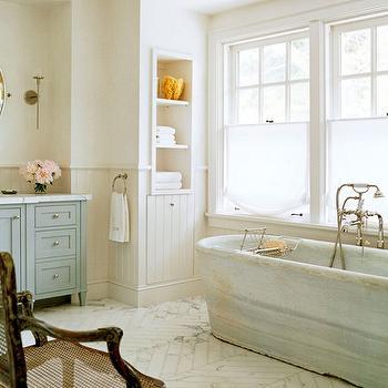 Marble Herringbone Floor, Cottage, bathroom, Wick Design