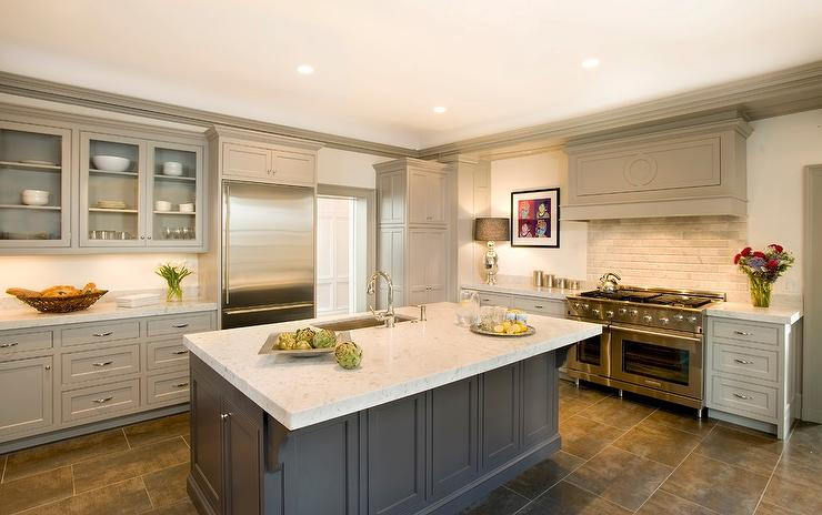 Taupe Kitchen Cabinets Transitional Kitchen Benjamin Moore - Light grey kitchen cabinets with black island