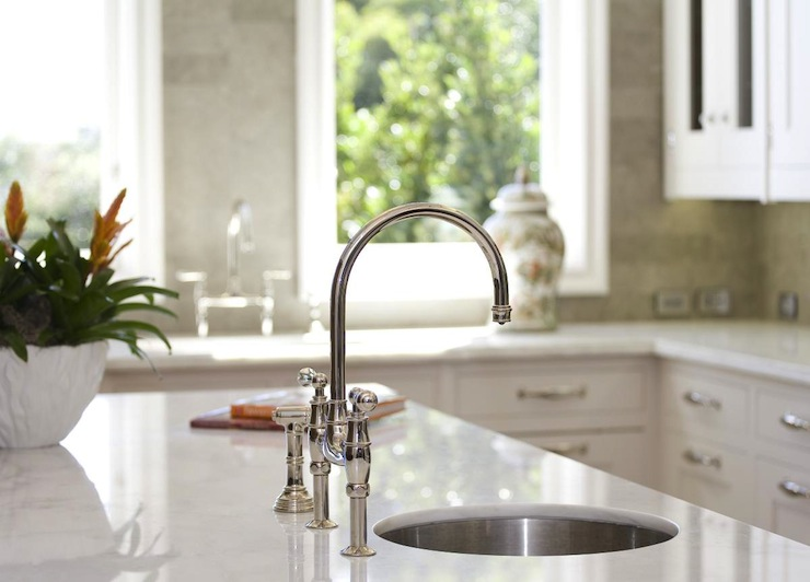 fantastic small round sink in marble kitchen island and polished nickel bridge faucet - Round Sinks Kitchen