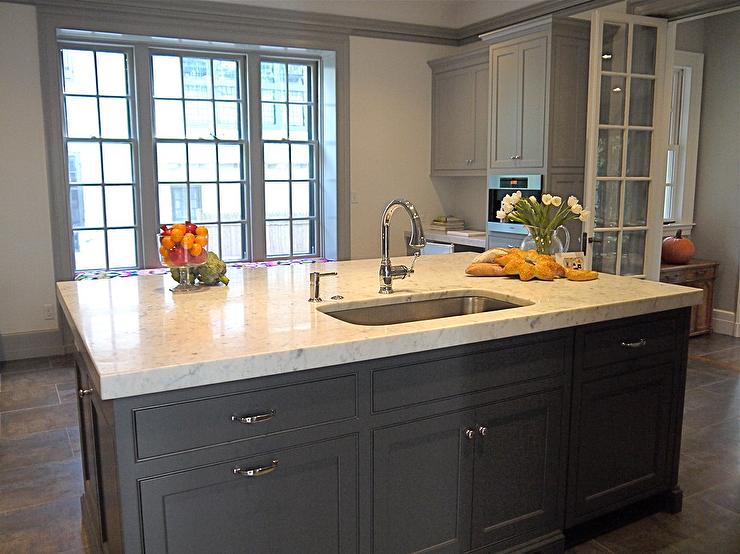 Gray Kitchen Island  Contemporary  kitchen  Cassia Design