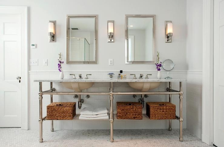 Elegant Bathroom Vanity Bathroom Traditional With Baseboards Bathroom Lighting