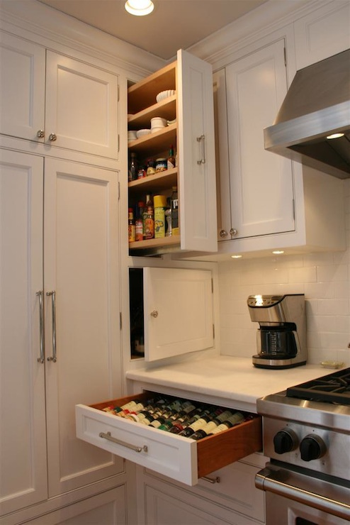 Pull Out Spice Cabinet Transitional Kitchen Olga