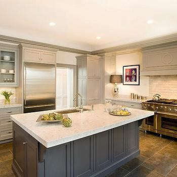 Taupe Kitchen Cabinets, Transitional, Kitchen, Benjamin Moore Stone Harbor, Cassia Design