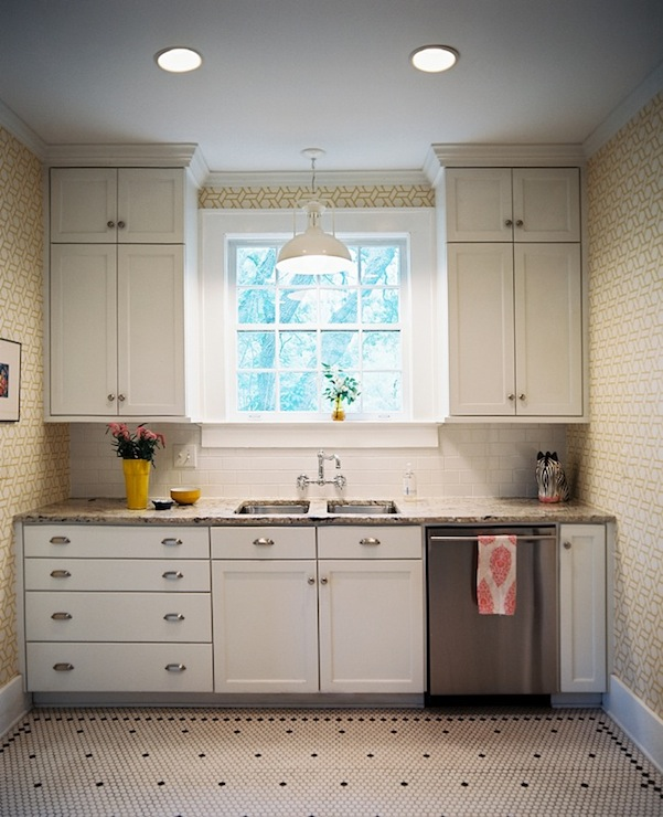 Pendant Light Over Kitchen Sink: Vintage Hex Kitchen Floor