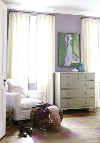 sweet lilac bedroom with lilac walls paint color gray vintage chest