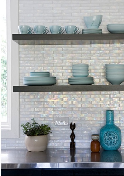 Iridescent Kitchen Backsplash Contemporary Kitchen