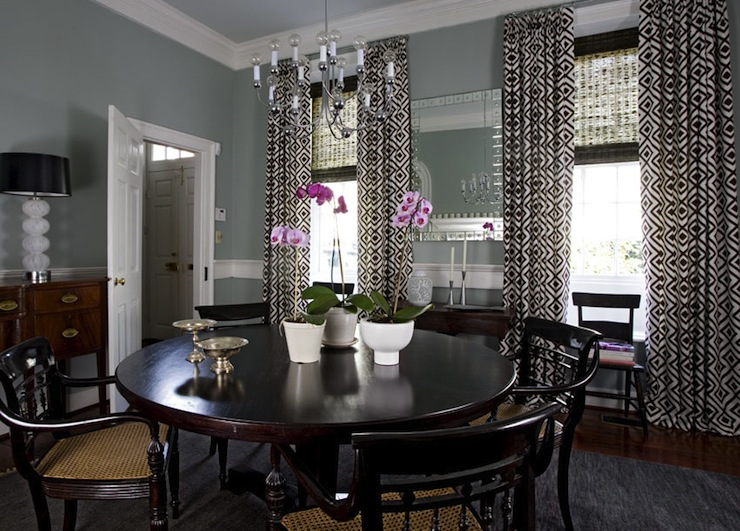 View Full Size Lovely Dining Room With Gray Blue
