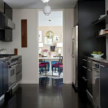 Black Galley Kitchen, Contemporary, kitchen, Angie Hranowski