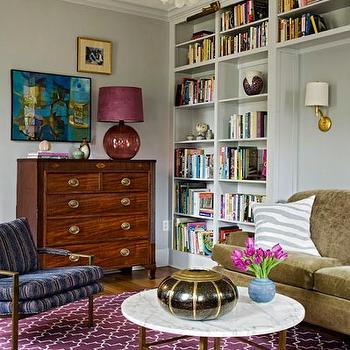 Purple Trellis Rug, Eclectic, living room, Angie Hranowski