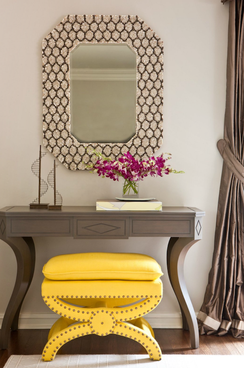 Yellow Foyer Table : Grey console table contemporary entrance foyer
