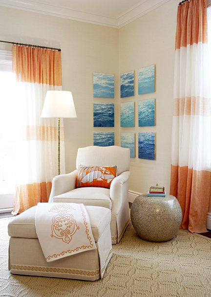 Small Sitting Space In Bedroom With Tan Walls Paint Color, Orange And White  Horizontal Striped Curtains Window Panels, Tan Wedding Circles Rug, ...