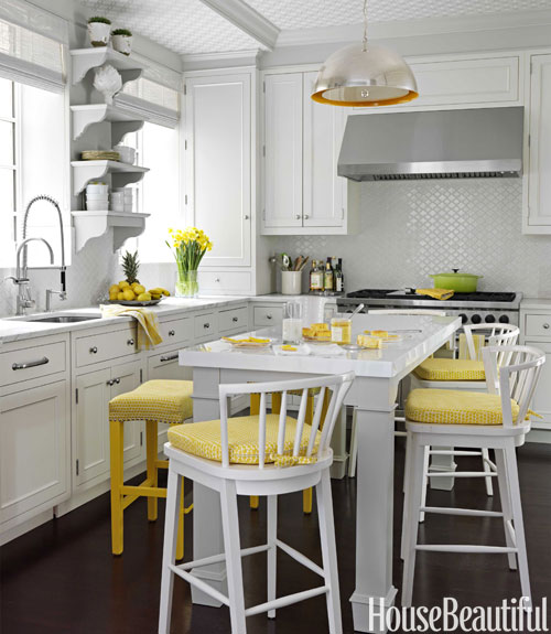 Gray And Yellow Kitchen Walls: White And Yellow Kitchen Design Ideas