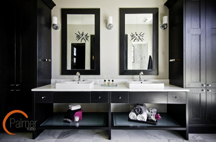 Black Bathroom Vanity Design Ideas - Black mirrored bathroom cabinet for bathroom decor ideas